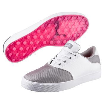 Puma Tustin Saddle Ladies Golf Shoes   White  Silver  Pink UK 4