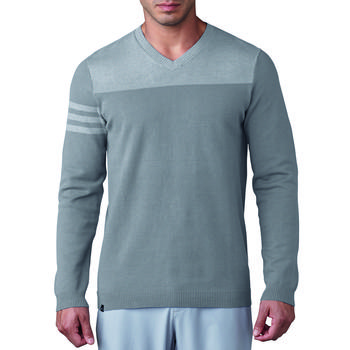Image of Adidas Club 3-Stripes V-Neck Sweater - Mid Grey Medium