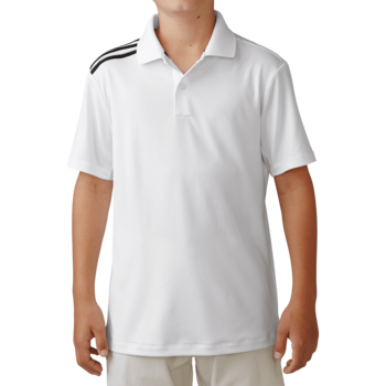 Stockists of Adidas Boys Climacool 3 Stripes Polo - White