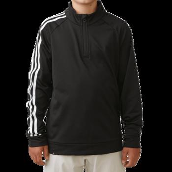 Adidas Boys 3 Stripe 12 zip Jacket   Black