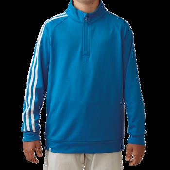 Adidas Boys 3 Stripe 12 zip Jacket   Blue