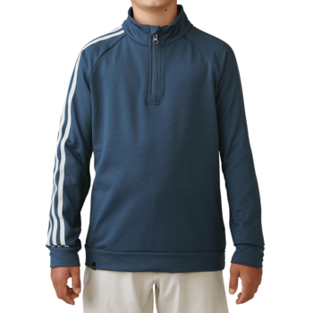 Stockists of Adidas Boys 3 Stripe 1/2 zip Jacket - Mineral Blue