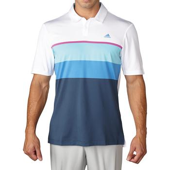 Stockists of Adidas Climacool Engineered Striped Golf Polo Shirt - White / Blue Glow / Flash Pink X Large