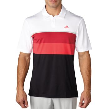 Stockists of Adidas Climacool Engineered Striped Golf Polo Shirt - White / Unity Pink / Stone Large