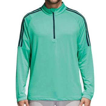 Image of Adidas Three Stripe Quarter Zip Top - Aero Green Mens Medium