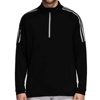 Image of Adidas Three Stripe Quarter Zip Top - Black Mens Medium