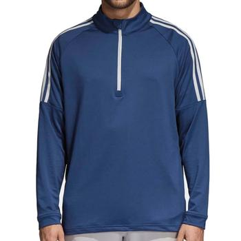 Image of Adidas Three Stripe Quarter Zip Top - Colegiate Navy Mens Medium
