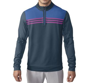 Image of Adidas Climacool Colourblock 1/4 Zip Layer - Mineral Blue / Ray Blue / Flash Pink