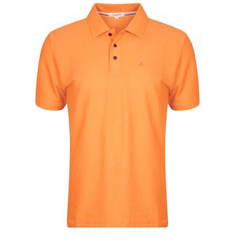 Calvin Klein Manhattan Radical Cotton Pique Polo Shirt - Orange - Size: Medium (D11)