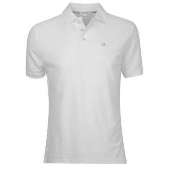Calvin Klein Manhattan Radical Cotton Pique Polo Shirt - White - Size: Large (D11)