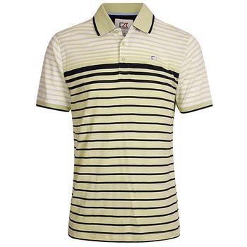 Cutter & Buck Oscar Engineered Striped Jersey Polo Shirt - Kiwi/Navy/White - Size: Medium (D15)