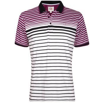 Cutter & Buck Oscar Engineered Striped Jersey Polo Shirt - White/Blackberry - Size: Medium (D15)