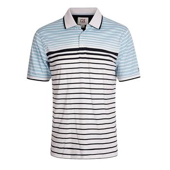Cutter & Buck Oscar Engineered Striped Jersey Polo Shirt - White/Navy/Black - Size: Medium (D15)