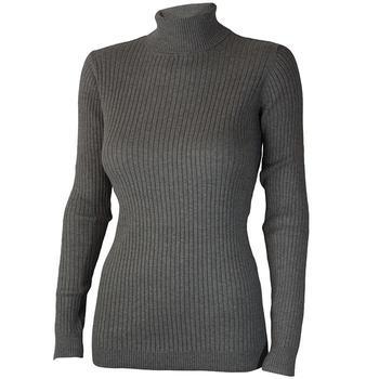 Calvin Klein Ladies Knit Roll Neck Sweater - Grey - Large (D7)