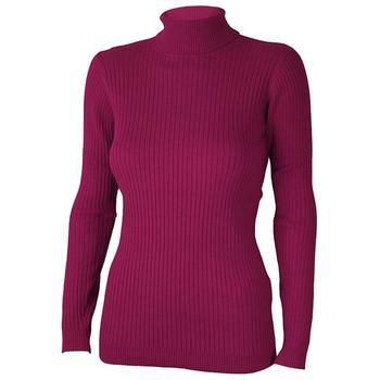 Calvin Klein Ladies Knit Roll Neck Sweater - Raspberry - Large (D7)