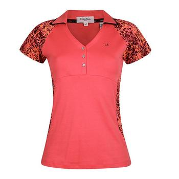 Calvin Klein Ladies Placement Print Polo Shirt - PinkCode - Size: Large (D13)