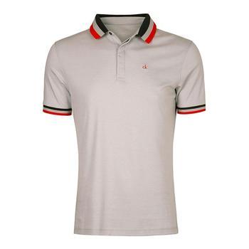 Calvin Klein Pima Cotton Mini Stripe Polo Shirt - Silver/White (D1)