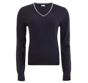 Image of Bailey Cable Sweater Ladies 12 White/Black