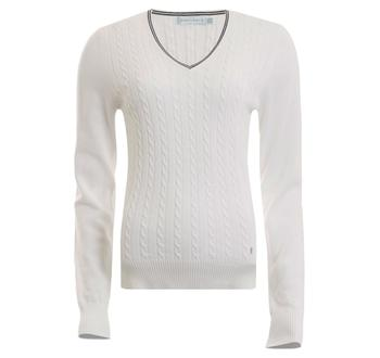 Image of Bailey Cable Sweater Ladies 8 White/Black