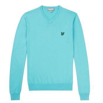 Lyle & Scott Club Cotton V-Neck Sweater - Aqua