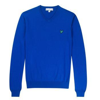 Lyle & Scott Club Cotton V-Neck Sweater - Duke Blue