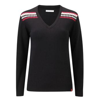 Ping Collection Ladies Lavern V Neck Sweater (P93202) Black