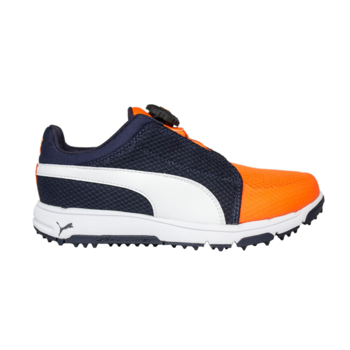 Puma Grip Sport DISC Junior Golf Shoes  Peacoat  Orange UK 1
