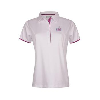 Green Lamb Peni Contrast Trim Print Golf Shirt - White/Violet (A7)