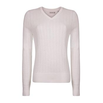 Green Lamb Sabina V Neck Cable Sweater - White (A6)