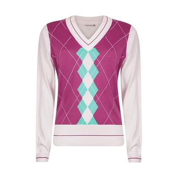 Green Lamb Salena Colour Block Argyle Sweater - White/Violet/Aqua (A6)