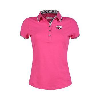 Green Lamb 24/7 Derry Print Trimmed Golf  Shirt - Hot Pink (A4)