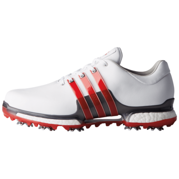 Image of Adidas Tour 360 2.0 Golf Shoes Mens, Size: UK 7, Width: Wide, Colour: White/Red