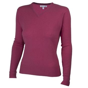 Green Lamb Ladies Lambswool V-Neck Sweater