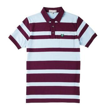 Lyle & Scott Club Bold Stripe Polo Shirt Eggplant 2012