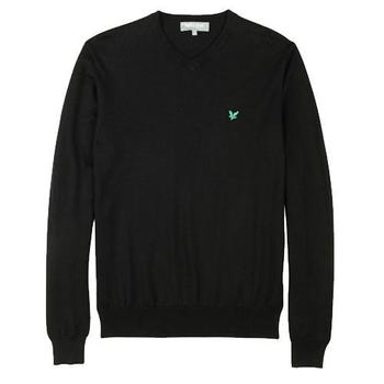 Lyle & Scott Club Cotton Black V-Neck Sweater