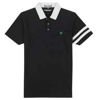 Lyle & Scott Club Stripe Sleeve Polo Shirt Black 2012