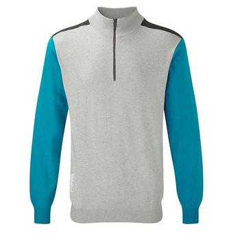 Ping Collection Bowland Golf Top - Silver/Cyan - Size: Small