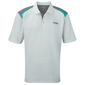 Ping Collection Morgan Polo Shirt - White/Cyan - Size: Small