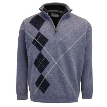 ProQuip Intarsia Men's Lined Lambswool Zip Neck Jumper