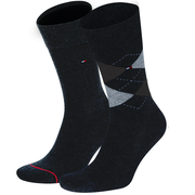Tommy Hilfiger Check/Plain Socks - 2 Pack