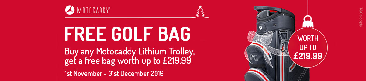 Receive a FREE Motocaddy Bag with selected Motocaddy Electric Trolleys this Christmas
