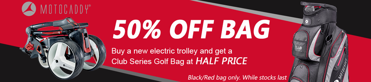 Motocaddy half price Black/Red Bag offer with electric trolleys