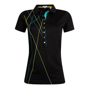 Calvin Klein Ladies Cross Polo Shirt  Black  Size X Small (D14)