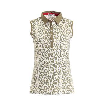 Freda Sleeveless Printed Polo Ladies 8 KhakiWhite