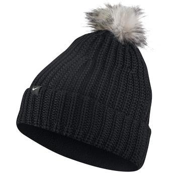 Nike Women s Beanie Knit Pom Hat - Black f2eec946602d