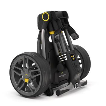 Powakaddy Compact C2 Electric Golf Trolley 18 Hole Lithium Gunmetal  Honeycomb Silver
