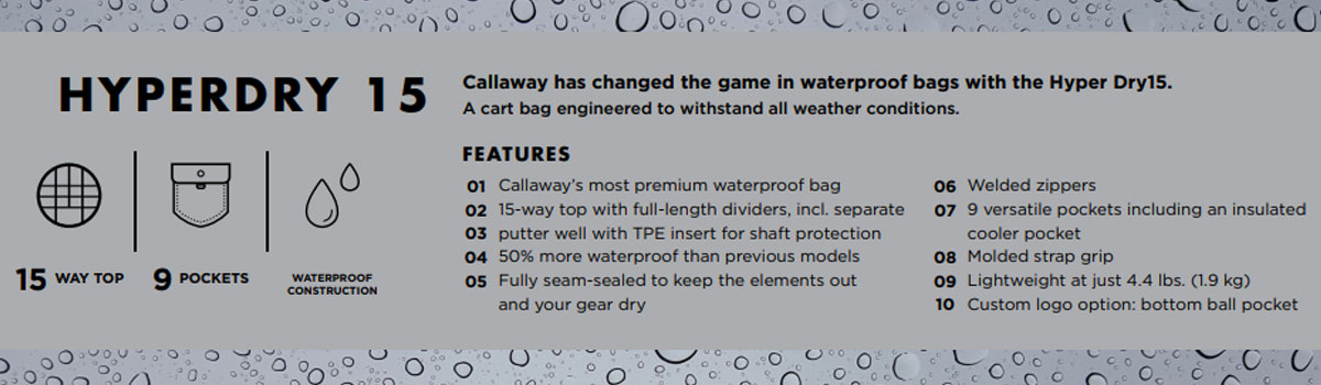 Callaway Hyper Dry 15 Bag Specifications