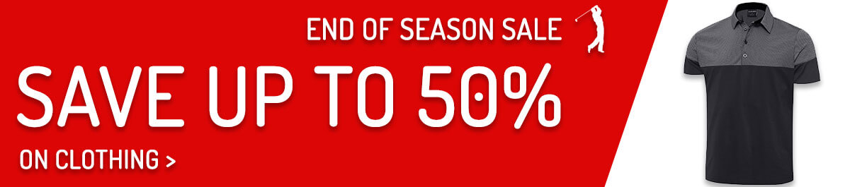 Save up to 50% on golf clothing